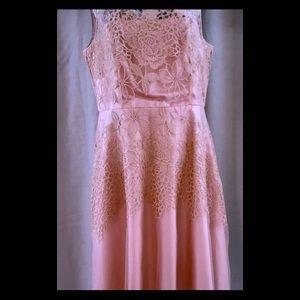 Tahari pink chiffon and lace dress
